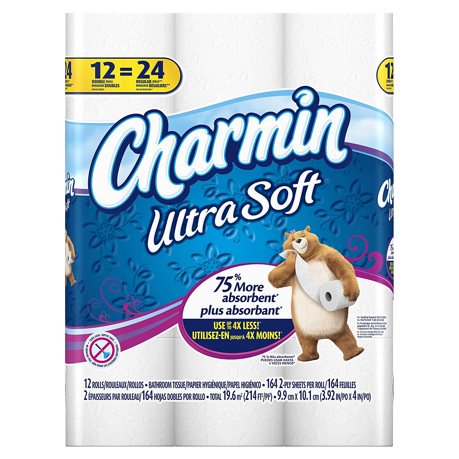 Amazon.com: Charmin Ultra Soft Double Roll Toilet Paper, 12 Count ...