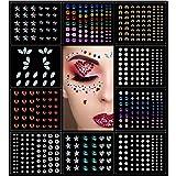 OASMU Halloween 10 Sheets Eye Body Face Gems Rhinestone Stickers Self Adhesive Rhinestones Rainbow Face Gems for Women Festiv