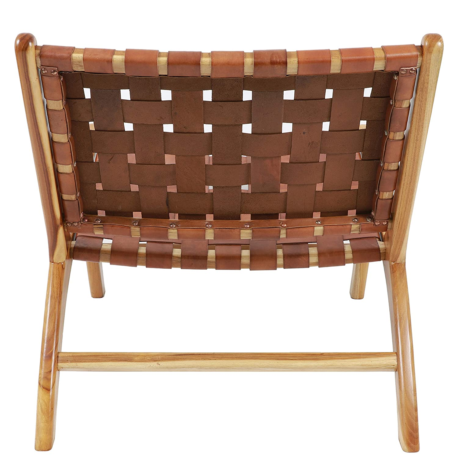 Antique Brown Decor Therapy FR8715 Roy Leather Strap Chair 27.56 H X 25.59 L X 31.10 W