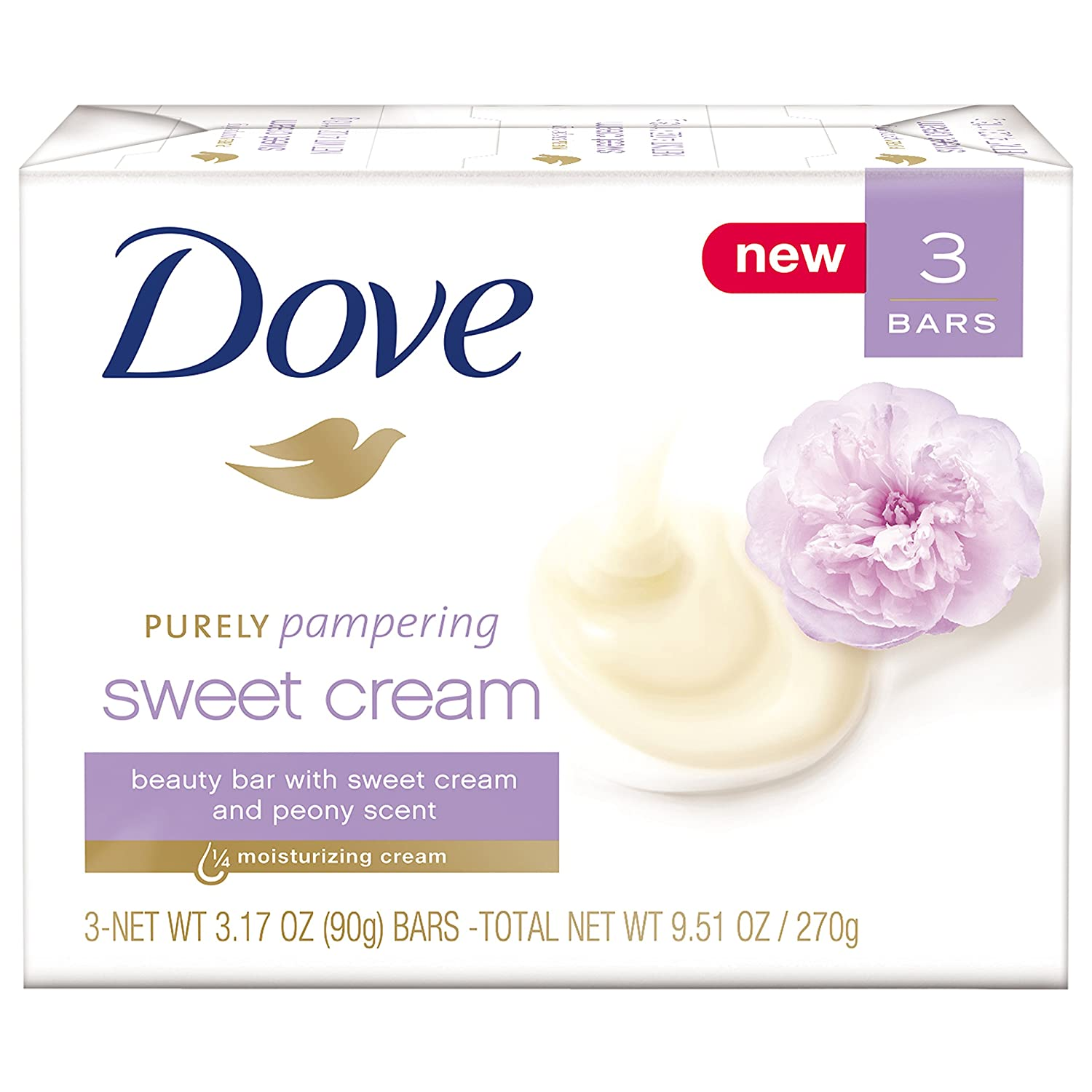Dove Purely Pampering Beauty Bar, Sweet Cream & Peony, 3.17 oz, 3 Bar
