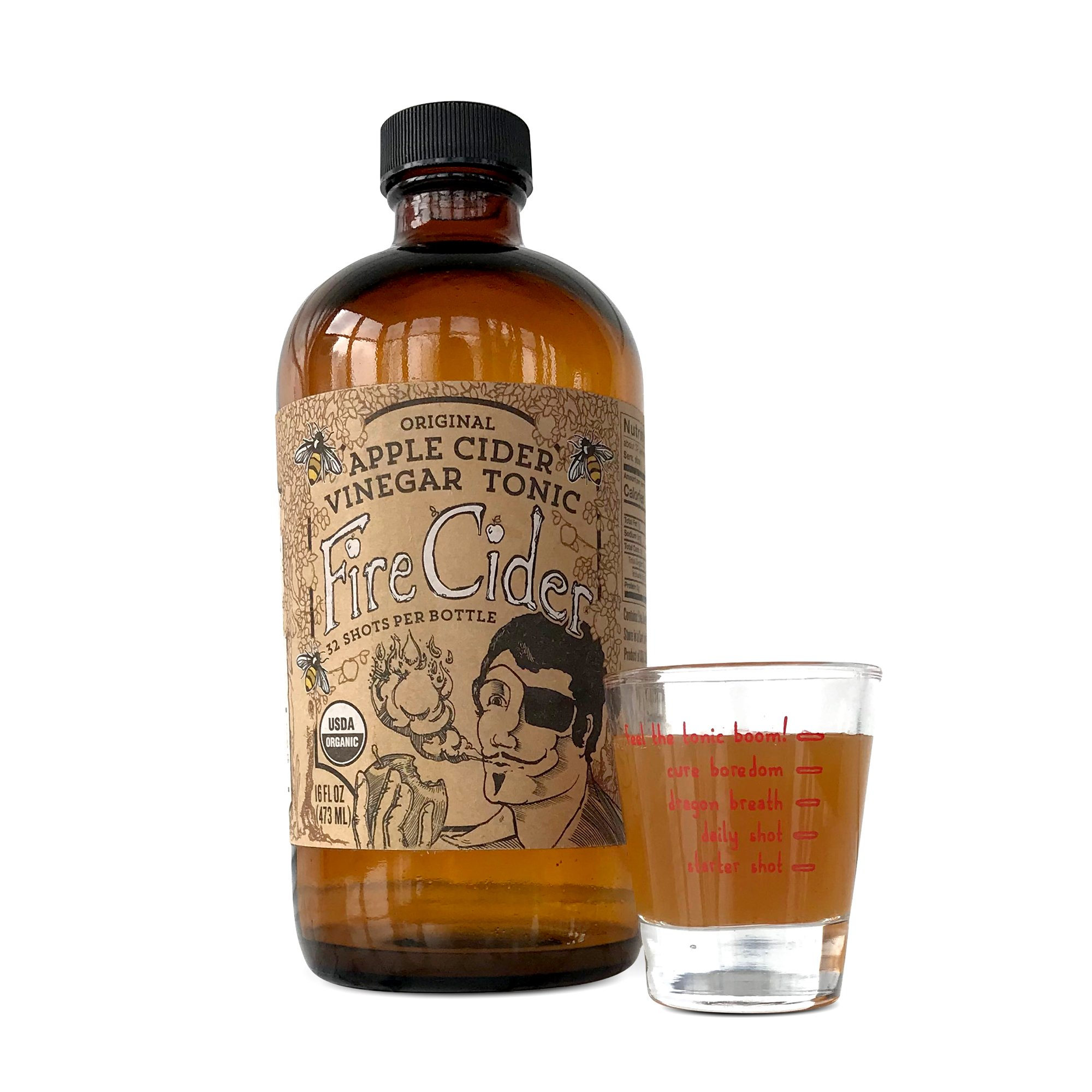 Fire Cider Apple Cider Vinegar Tonic with Honey & Dosage Shot Glass, Original Flavor, Natural Detox & Cleansing, Pure & Raw, Certified Organic Ingredients, No Heat Processed, 32 Shots, 16 oz.