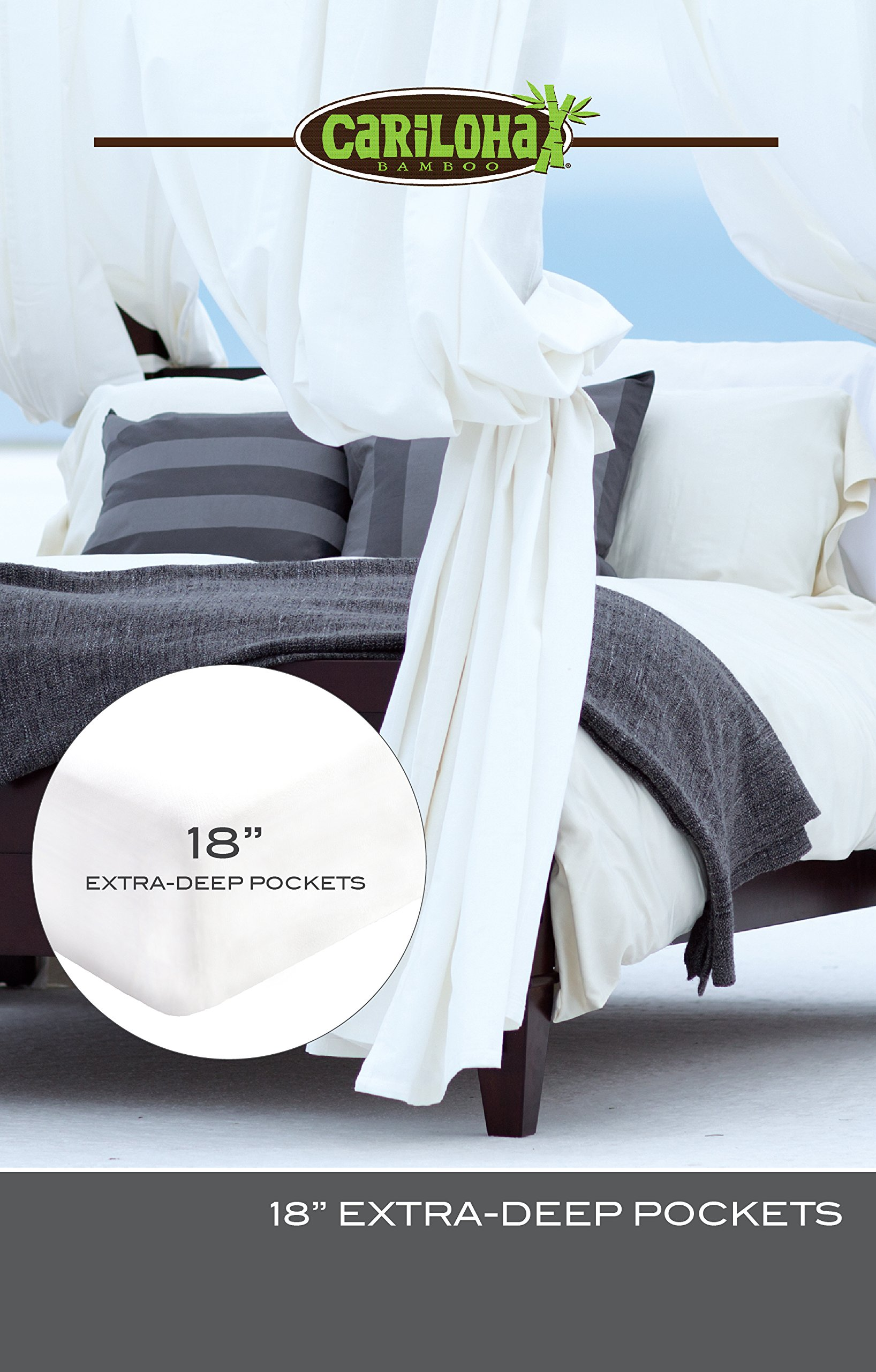 Classic Bamboo Sheets by Cariloha - 4 Piece Bed Sheet Set - Softest Bed Sheets and Pillow Cases - Lifetime Protection (Queen, White) by Cariloha (Image #6)
