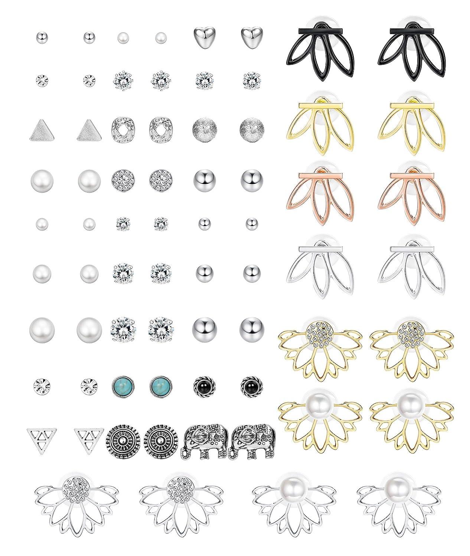 Hanpabum 35Pairs Assorted Multiple Stud Earrings for Women Girls Lotus Flower Ear Jacket Earrings Set Vintage Fake Pearl Ball CZ Earrings Set