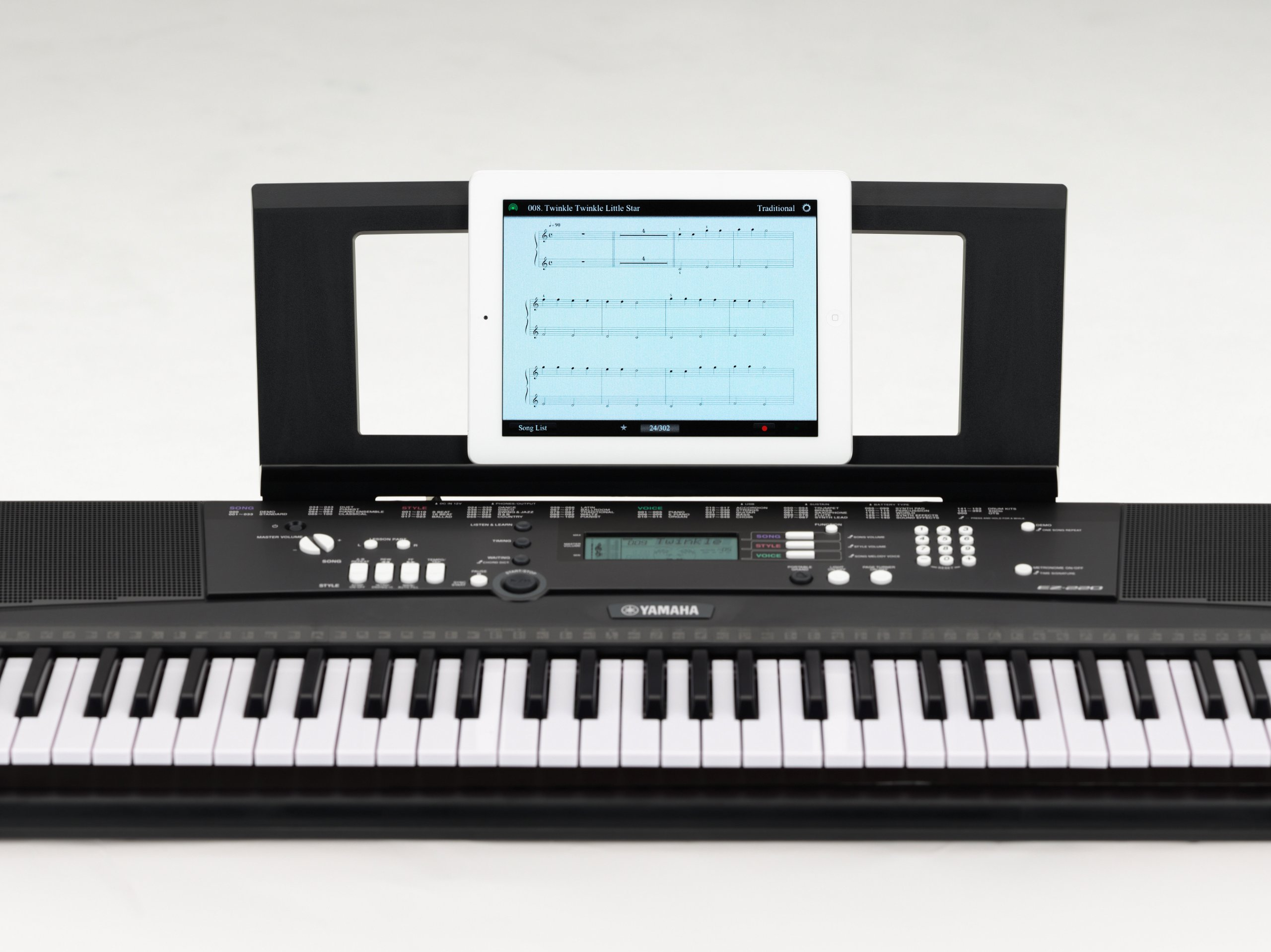 Yamaha EZ220 Keyboard with Lighted Keys - Includes X-Style Stand and Power Adapter
