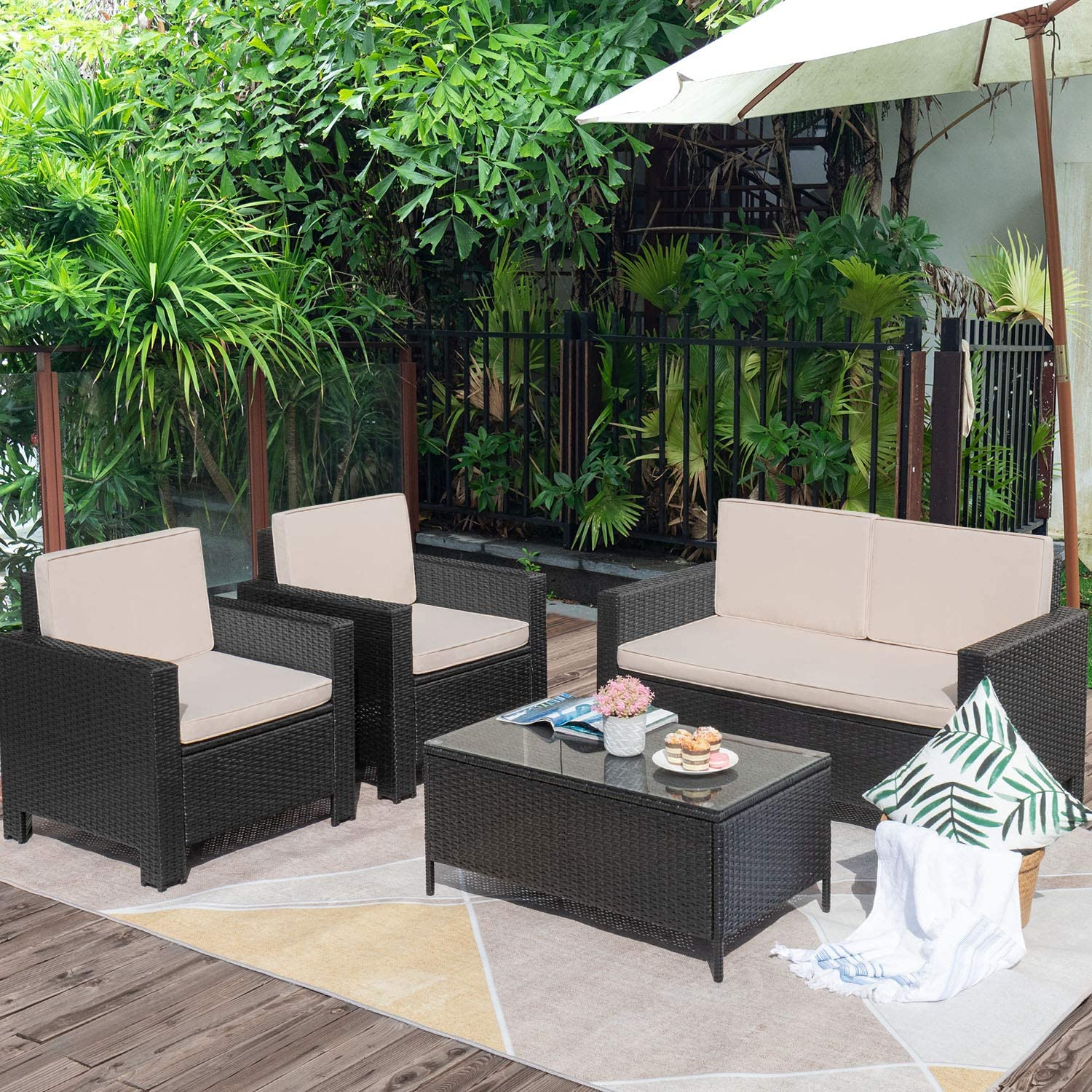 Flamaker 4 Pieces Outdoor Patio Furniture Sets Outdoor Conversation Set Poolside Lawn Chairs with Coffee Table for Poolside and Backyard Black