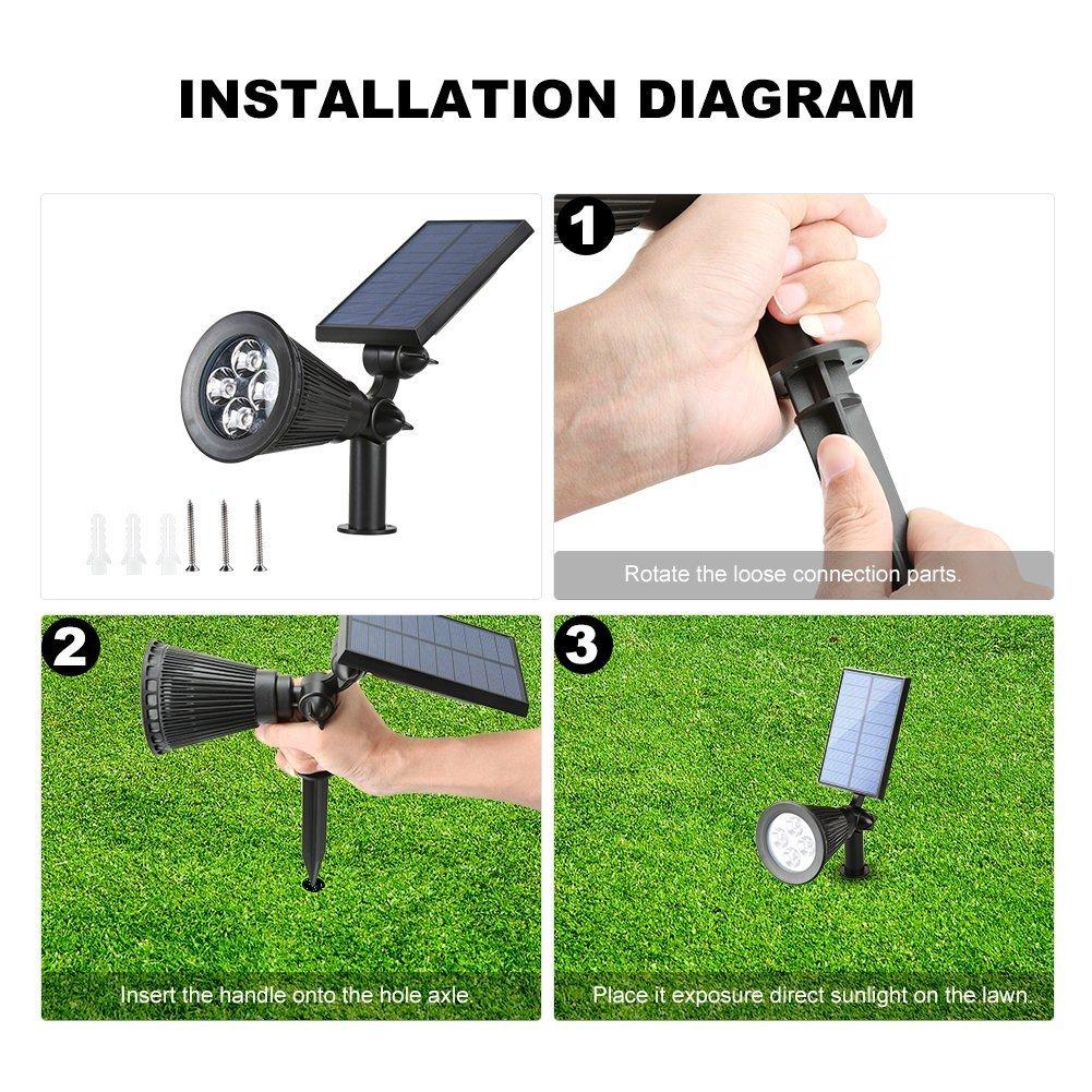 Outdoor Led Solar Spotlights Lonwing Waterproof 4 Landscape Lighting On Wiring Diagram For Garden Lights 2 In