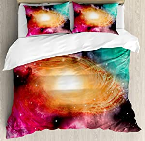 Ambesonne Zodiac Duvet Cover Set, Colorful Astronomy Pictures of a Spiral Galaxy Stars Stardust and Cosmos, Decorative 3 Piece Bedding Set with 2 Pillow Shams, Queen Size, Black Pink