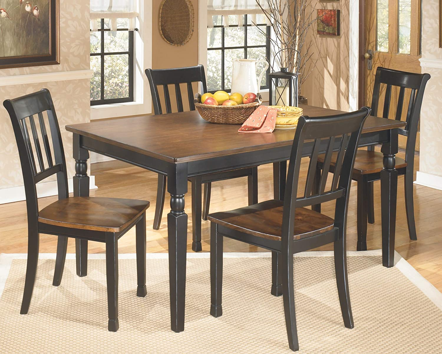 Ashley Furniture Signature Design - Owingsville Dining Room Table - Rectangular - Black and Brown