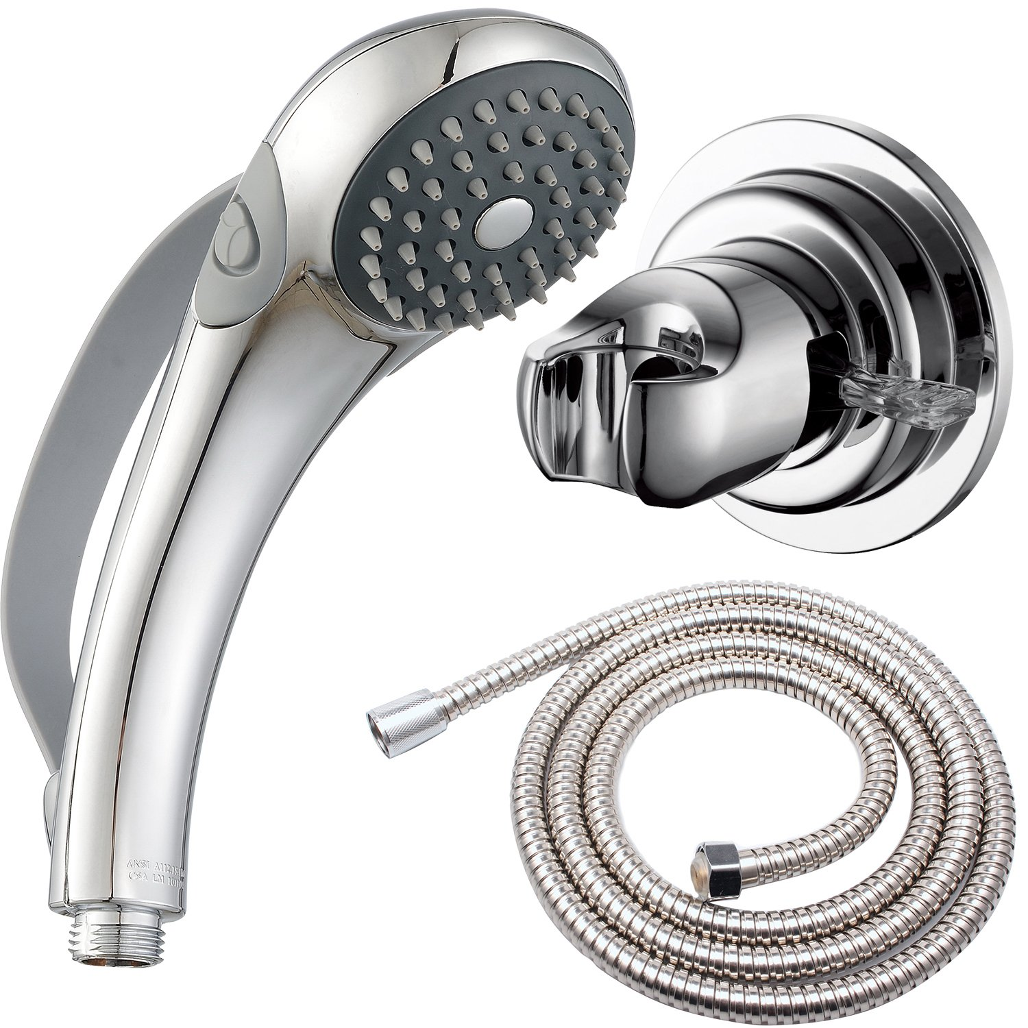 Deliao Handheld Shower Head Set With 79-Inch Shower Hose And Suciton Cup Holder Bracket Home Care Control Button And Convenient Push Button Designed For Disabled Elderly Children Baby Kids Or Pets AQUAmate