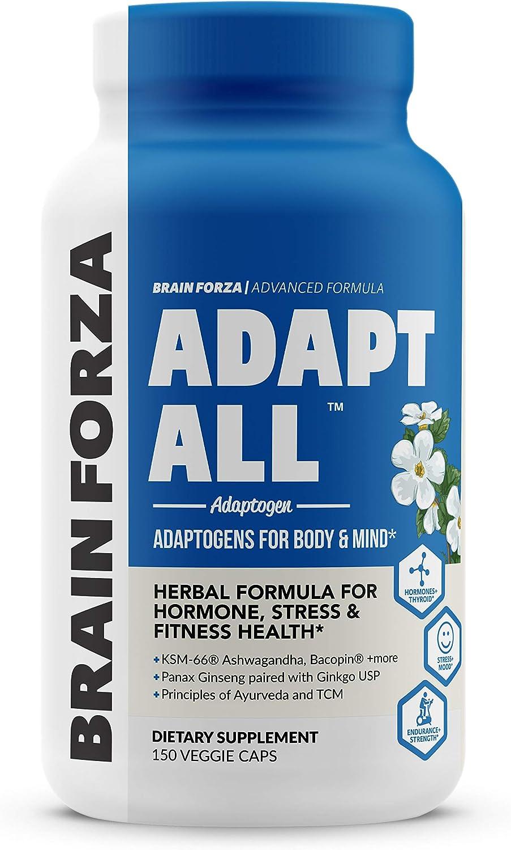 Brain Forza Adapt All Herbal Adaptogen for Stress, Mood and Athletic Performance w/ KSM-66 Ashwagandha, Bacopa, Rhodiola Rosea, Cordyceps, Lemon Balm, Ginkgo Biloba USP, 150 Capsules