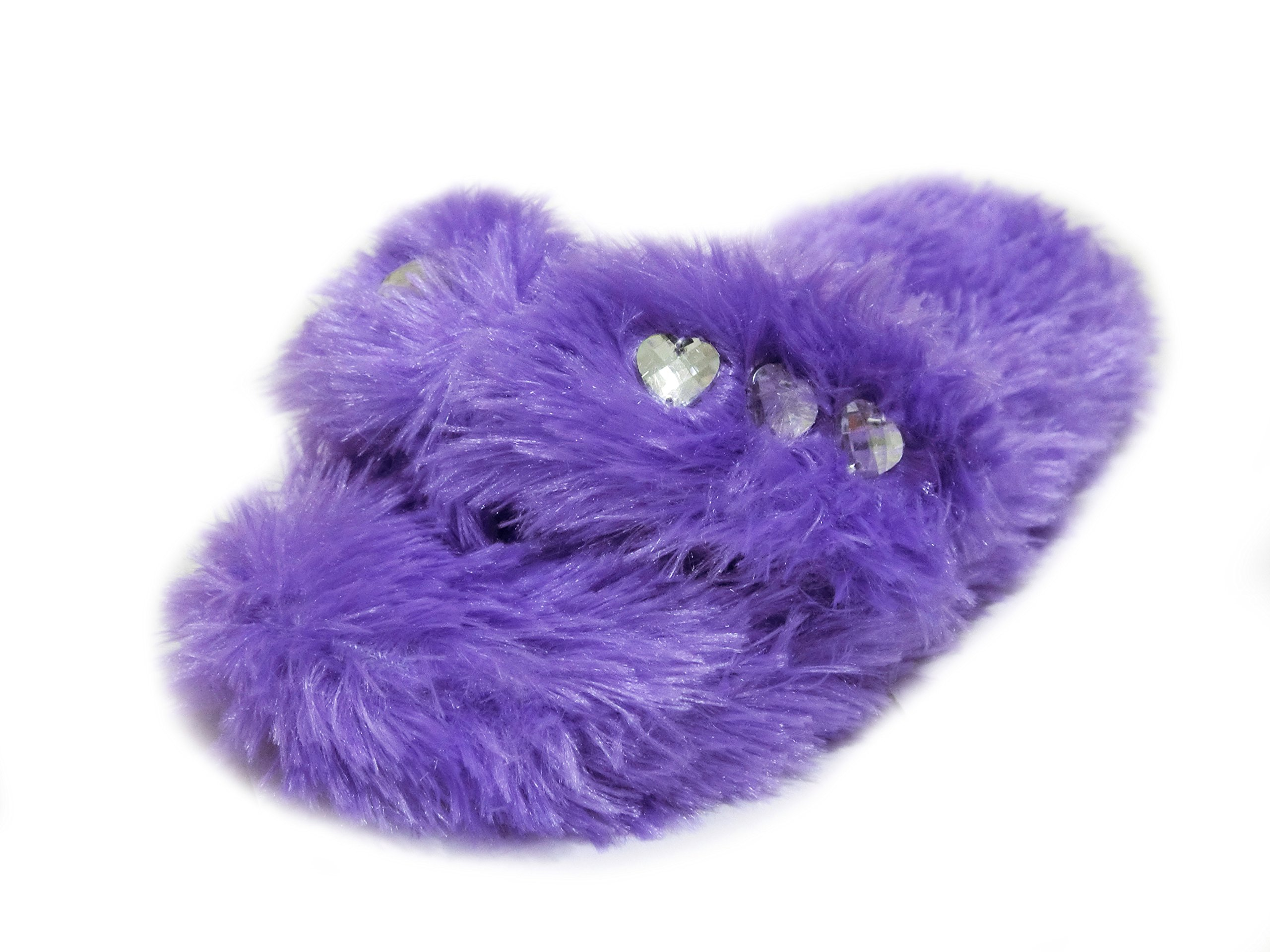 Onmygogo Girl's Bejeweled Flip Flops, Little Kid Fuzzy Indoor Princess Slippers, 3 Sizes (M-US Little Kid Size 12.5-1, Purple)