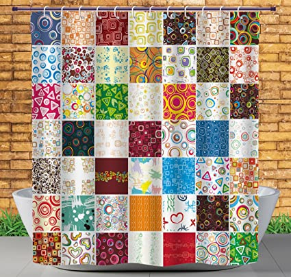 IPrint Fabric Shower Curtain By House DecorBig Patchwork Of Different Patterns Traditional Classical