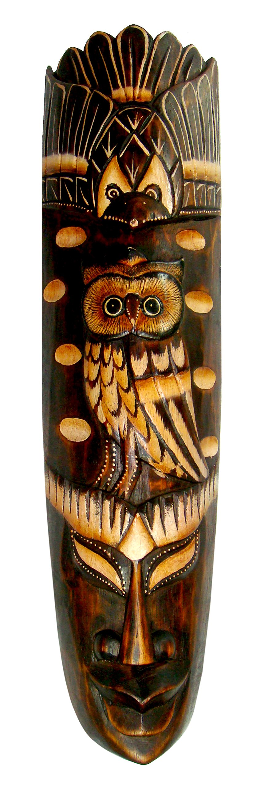 NareeGreen African Mask Wall Hanging Decor Owl Fortune and Protection Mask, LARGE 20''