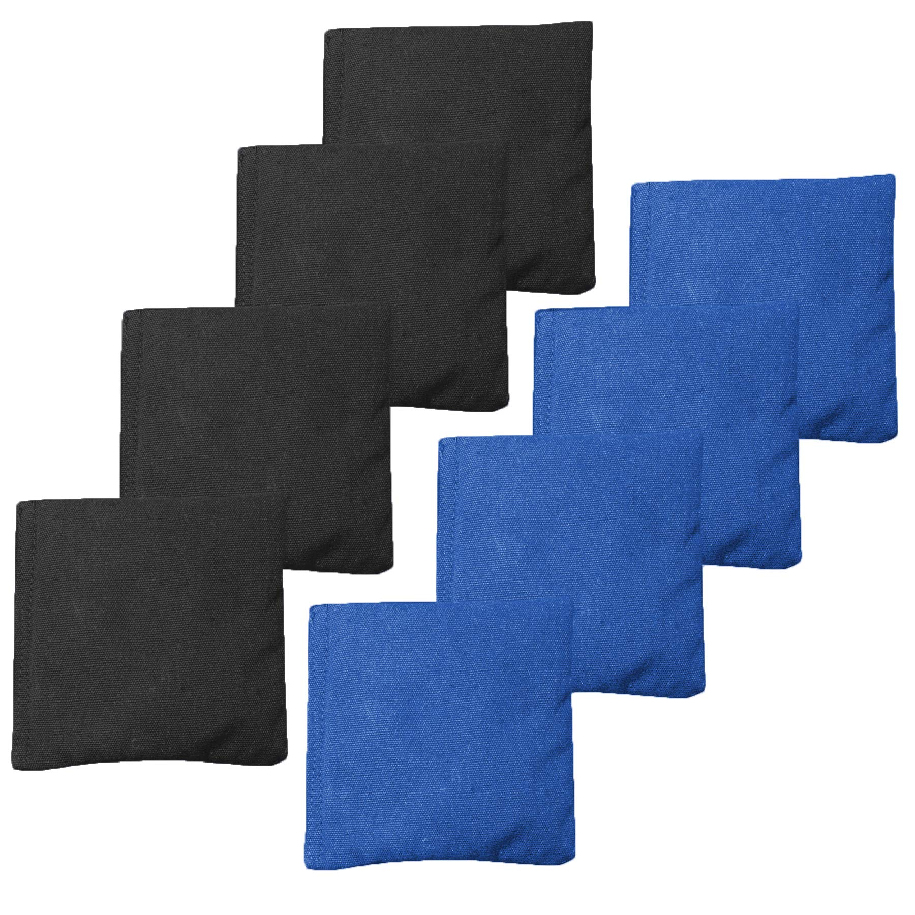 All Weather Cornhole Bean Bags Set of 8 - Duck Cloth, Regulation Size & Weight - Royal Blue & Black