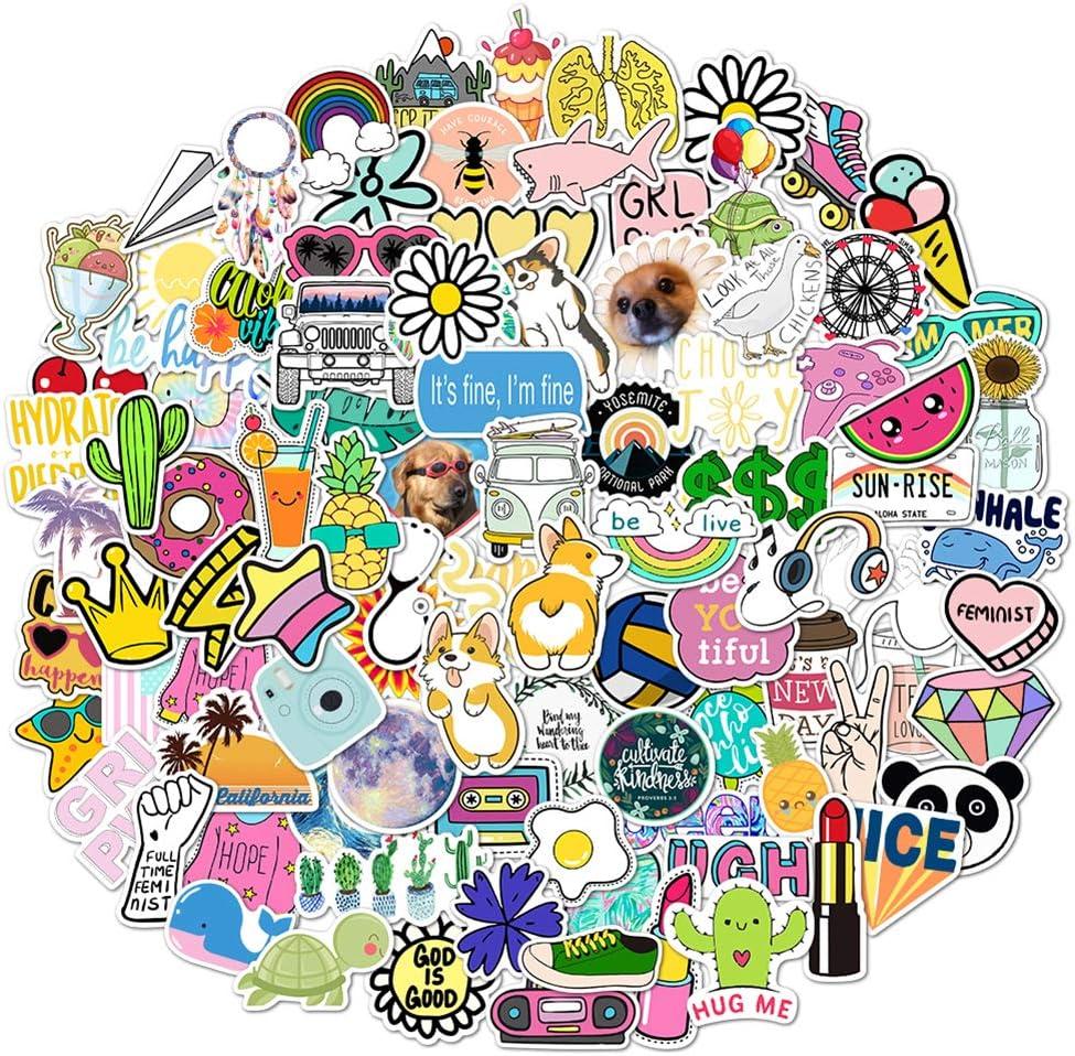 VSCO Stickers for Hydro Flask, VSCO Stickers 100 Pack, Colorful Waterproof VSCO Girl Stickers for Flask, Laptop, Phone, Water Bottle, VSCO Girl Stuff, Cute Aesthetic Vinyl Stickers for Teens, Girls