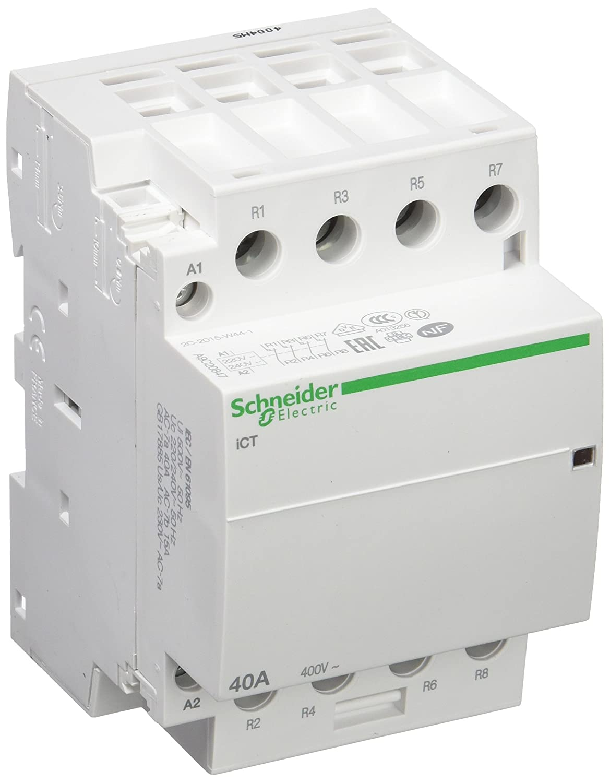 Schneider Electric A9C20847 iCT contacteur, Acti9, 40 A, 4NF, 230-240VCA, 50 Hz, Blanc