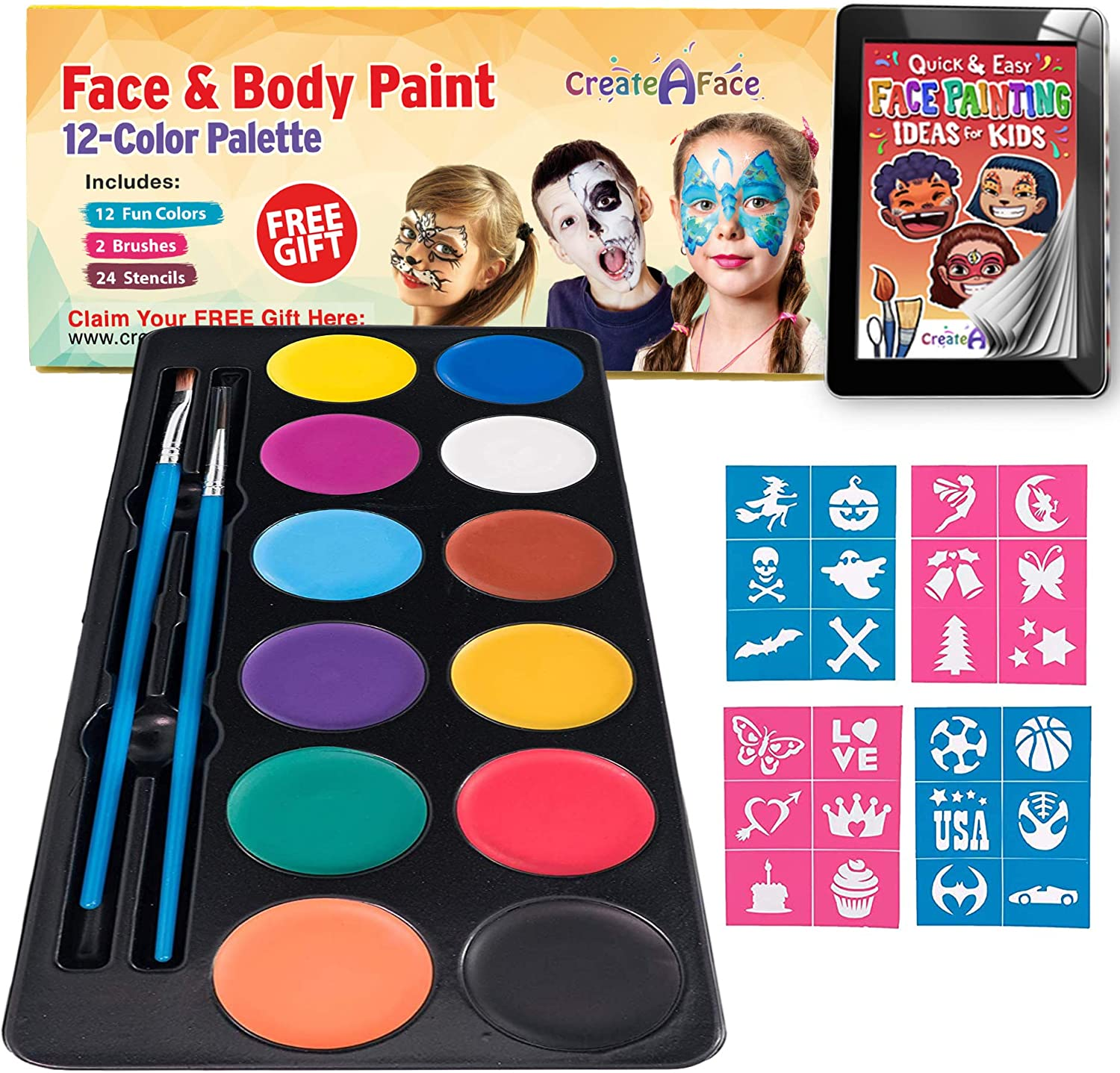 Face Paint Body Painting Palette 12 Vibrant Water Colors 24 Stencils 2 Brushes Tutorial Ebook For Beginners Ideal For Sensitive Skin 100 Safe Halloween Party Makeup Amazon Co Uk Beauty