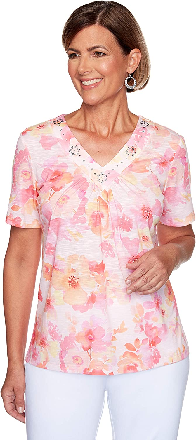 Alfred Dunner Women's Jeweled Neckline Floral Print Knit Top