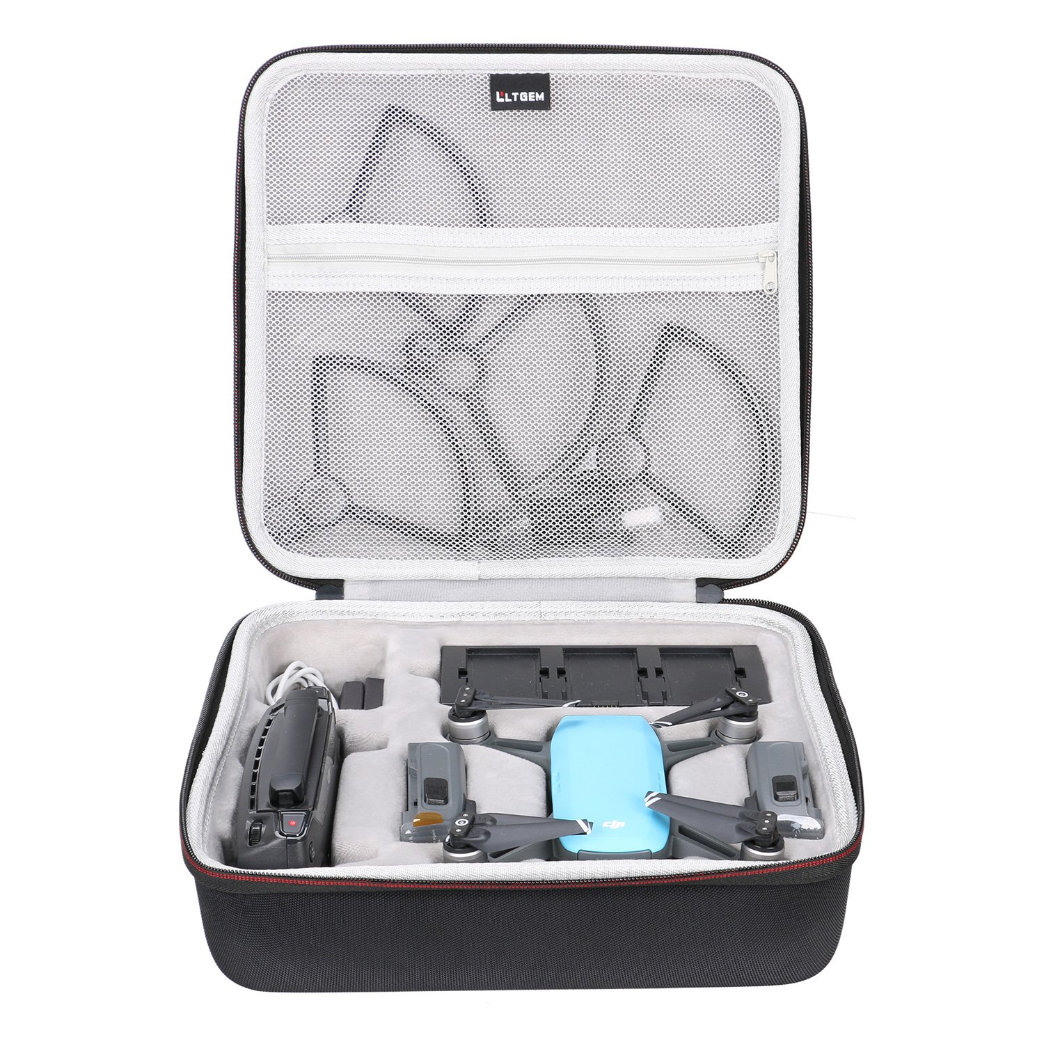 LTGEM Case for DJI Spark Drone Fits 4 Drone Batteries Propeller Guard Battery Charger Remote Controller and Other Accessories Black with Mesh Pocket