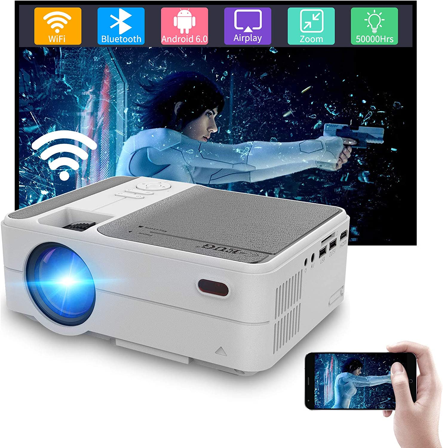 Wireless Mini Projector with Bluetooth YouTube 1080P Wireless Sync with iPhone, LED Portable Home Theater Projector for Movie Gaming, Built-in Speaker HDMI USB VGA Aux Audio