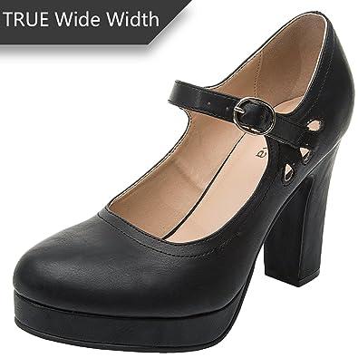a62754b7858a Luoika Women s Wide Width Heel Pump - Ankle Buckle Strap Heel Close Toe  Stilleto Platform Mary