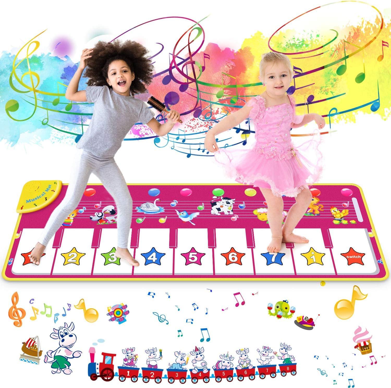 joylink Alfombra de Piano, Alfombra Musical Teclado Alfombra Musical para Niños Alfombra Musical de Teclado con 8 Teclas y 8 Sonidos de Animales para Bebé Niño Niña (100*36cm)
