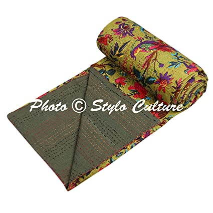 Indian Kantha Bedspread Single Quilted Olive Green Cotton Bird Hand Stitched Blanket Bedding Bed Cover by Stylo Culture