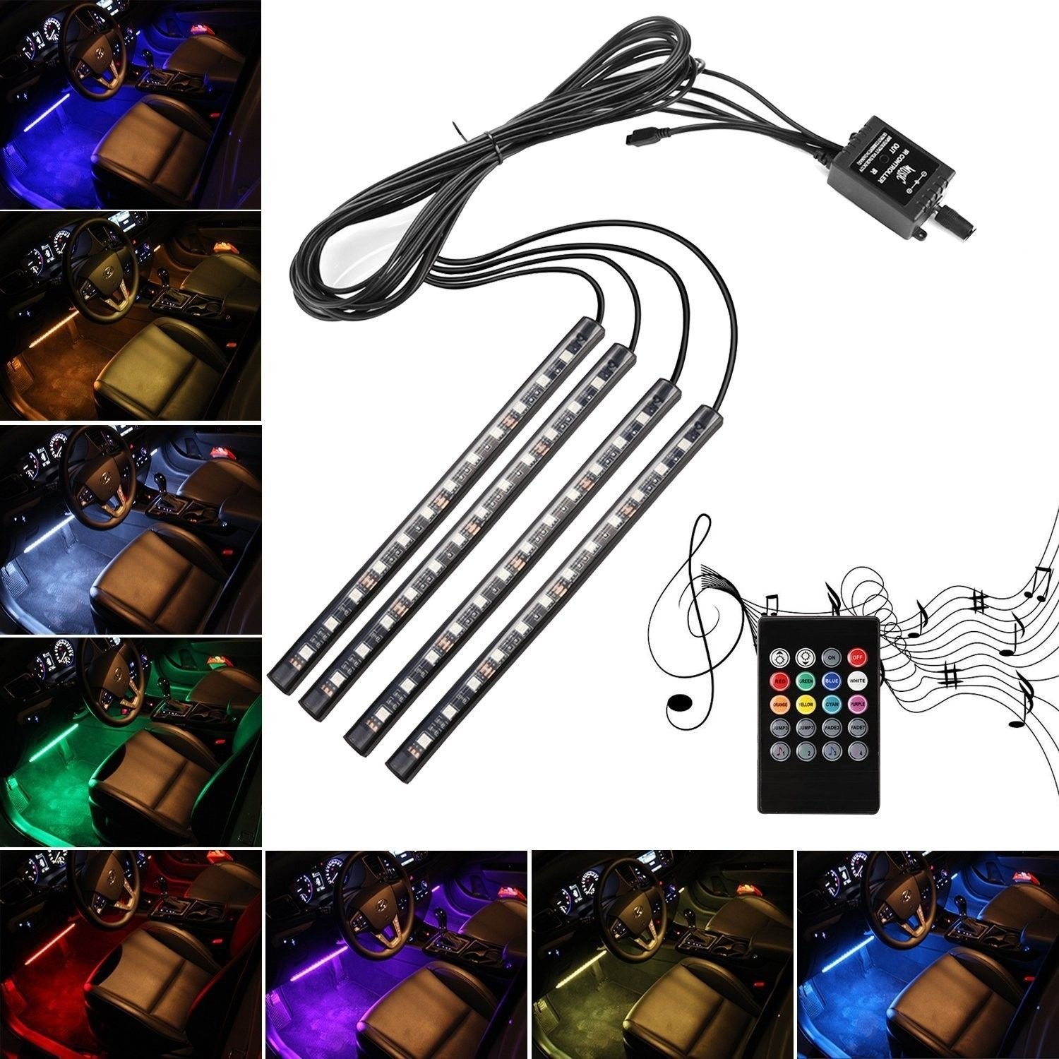 Car LED Strip Lights,4pcs 48 LED Multicolor Music Interior Strip Lights Under Dash Lighting Waterproof Kit With Sound Active Function And Wireless Remote Control,Car Charger Included,DC 12V by Creatrek (Image #1)