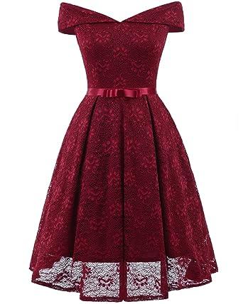 b219963c8ad REMASIKO Womens Lace Bridesmaid V Neck Formal Wedding Party Cocktail Midi  Dress (Medium