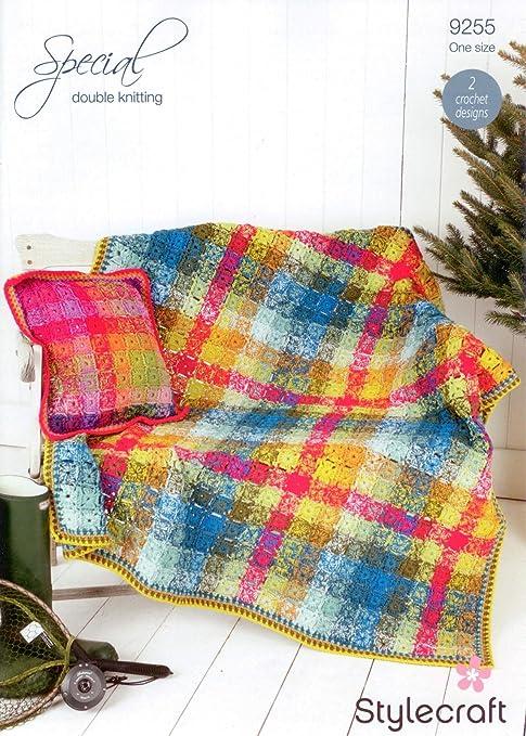 Stylecraft 9255 Crochet patrón manta y cojín en Stylecraft ...