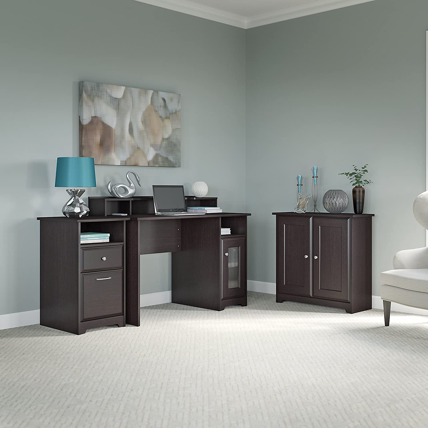 Cabot Computer Desk, Low Storage Cabinet with Doors and 2 Drawer File Cabinet