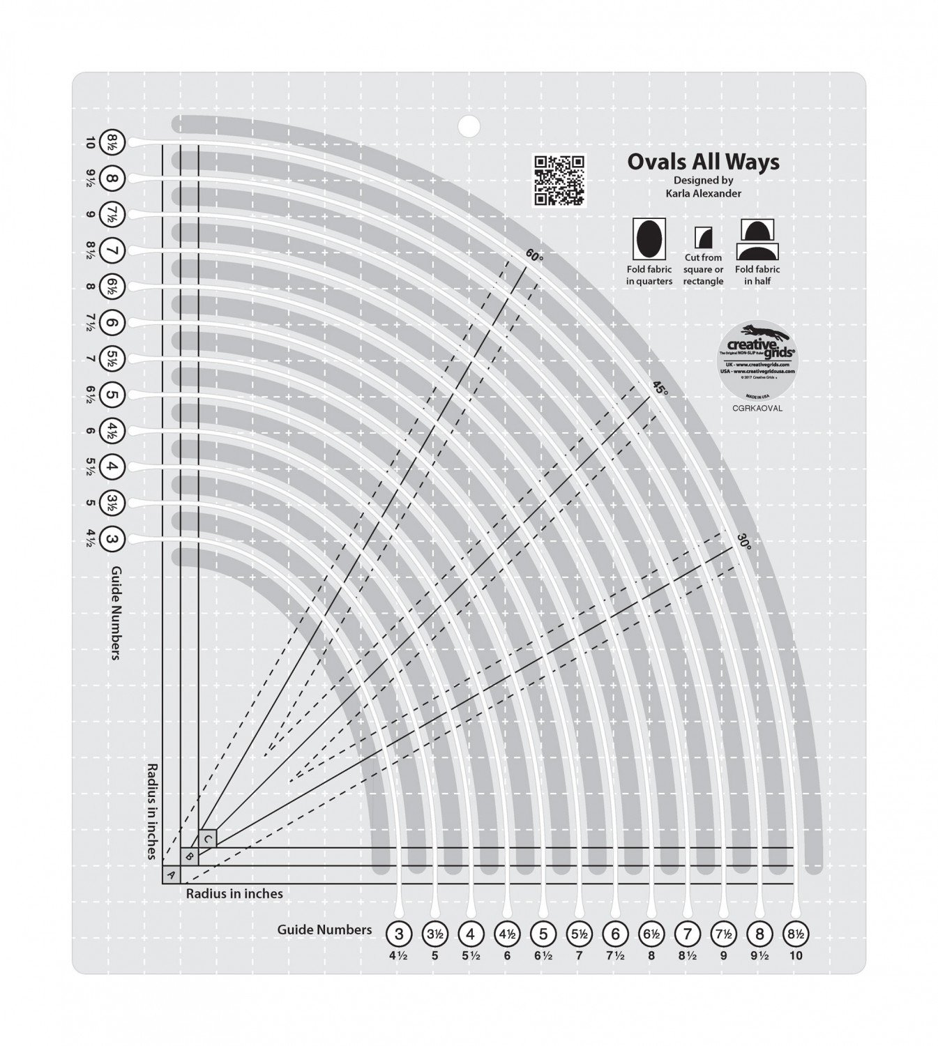 Amazon.com: Creative Grids Ovals All Ways Quilting Ruler Template ...
