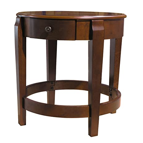 Round Accent Table With Drawer In Chestnut Finish