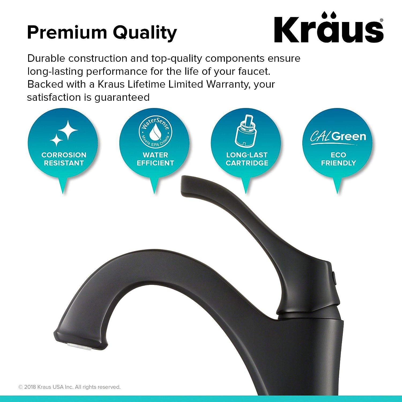 Kraus Arlo Single Handle Basin Bathroom Faucet in Matte Black ...