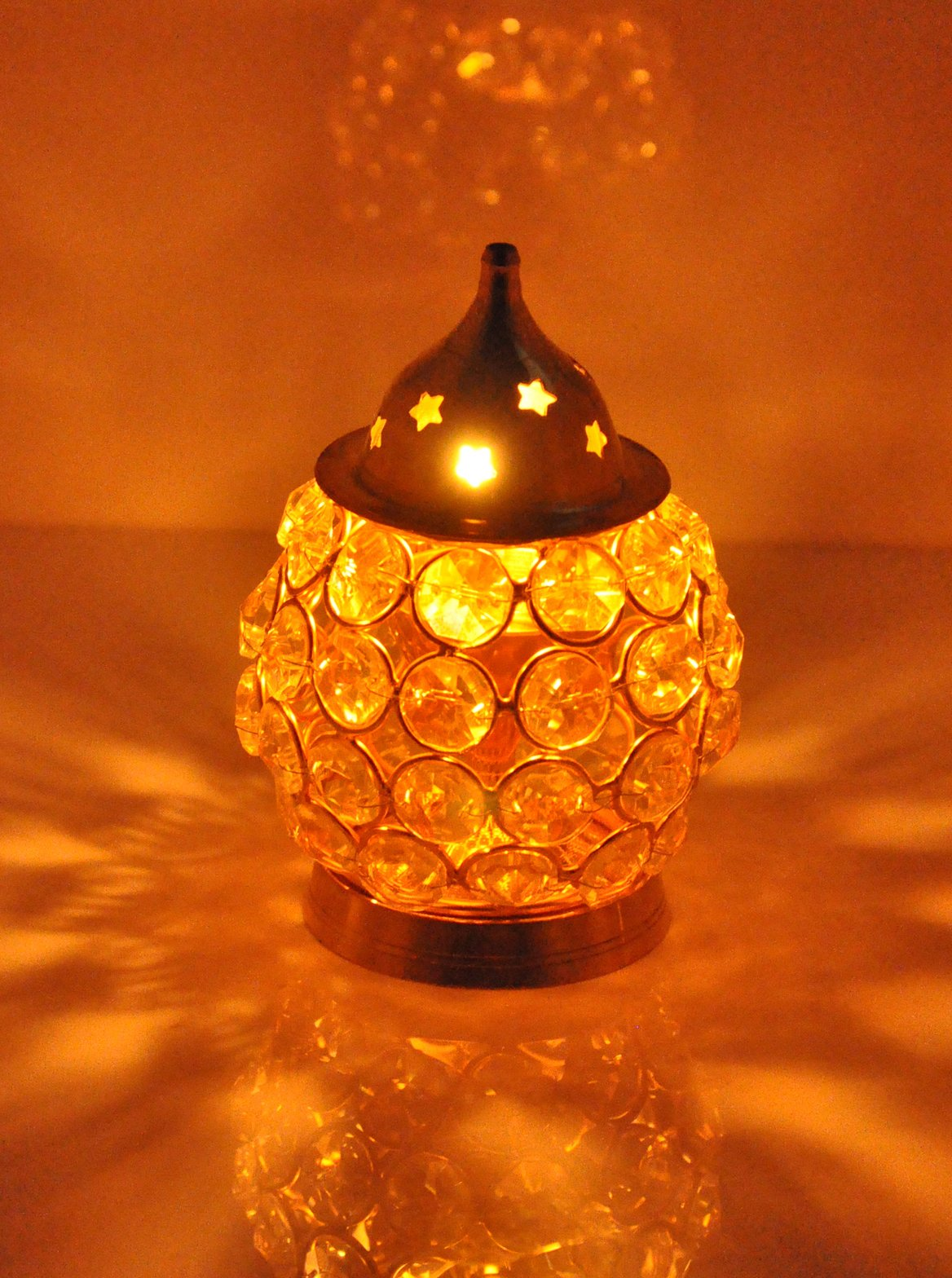 Haschart Akhand Diya Decorative Brass Crystal Oil Lamp Tea Light Holder Lantern Oval Shape   Puja Lamp