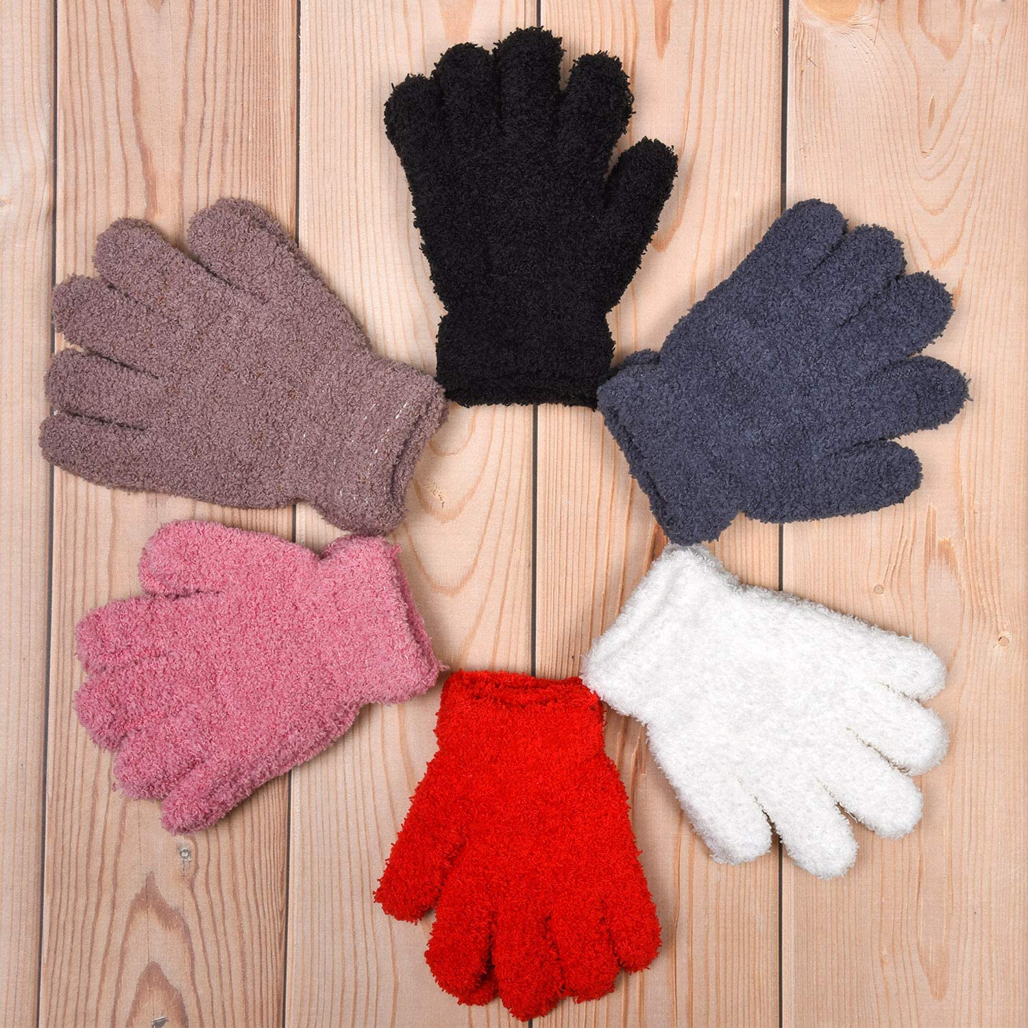 12 Pairs Kids Gloves Stretch Full Finger Mittens Winter Warm Knitted Unisex Kid Gloves for Boys and Girls Supplies