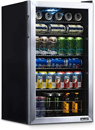 NewAir Beverage Refrigerator Cooler with 126 Can Capacity - Mini Bar Beer Fridge with Right Hinge Glass Door - Cools to 34F - AB-1200 - Stainless Steel