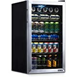 NewAir Beverage Refrigerator Cooler with 126 Can Capacity - Mini Bar Beer Fridge with Right Hinge Glass Door - Cools to 34F -