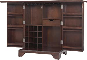 Crosley Furniture LaFayette Expandable Top Bar Cabinet, Vintage Mahogany