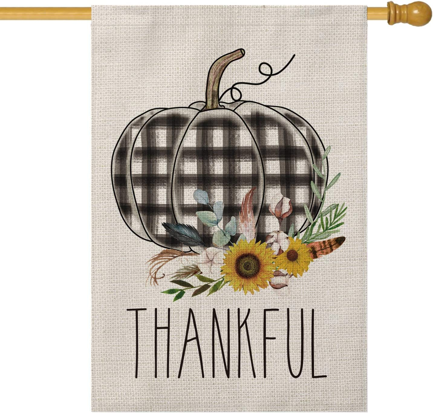AVOIN Thankful Watercolor Buffalo Plaid Pumpkin House Flag Vertical Double Sized, Fall Thanksgiving Harvest Rustic Yard Outdoor Decoration 28 x 40 Inch