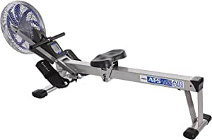 Stamina 35-1405 ATS Air Rower 1405 Rowing Machine, Air Resistance, LCD Fitness Monitor, Folding and Built-in Wheels, Chrome/Blue/Black