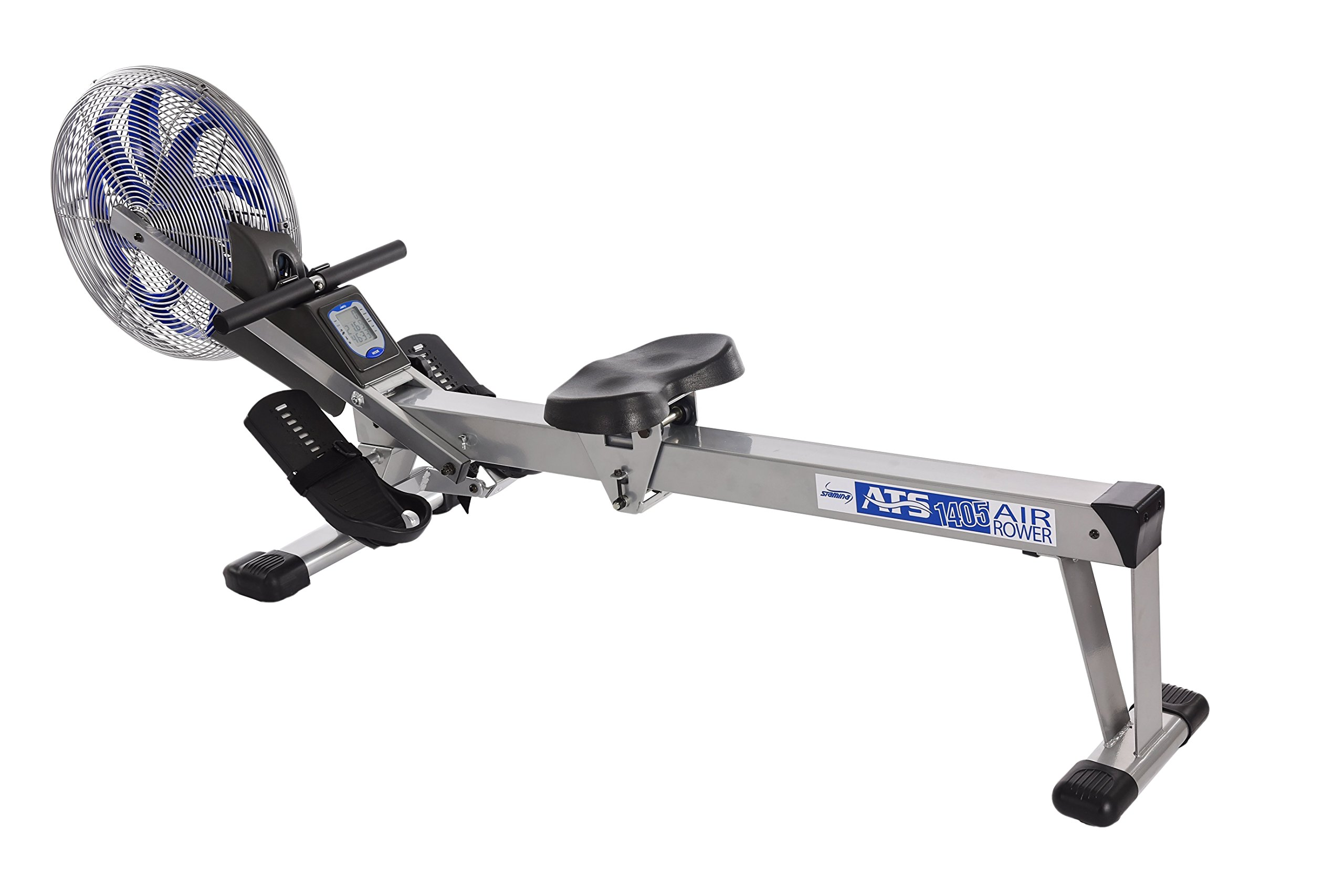 Stamina 35-1405 ATS Air Rower 1405 Rowing Machine, Air Resistance, LCD Fitness Monitor, Folding and Built-in Wheels, Chrome/Blue/Black by Stamina (Image #1)