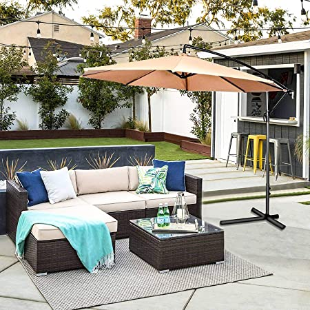 OAKVILLE FURNITURE Outdoor Patio Furniture Sets Wicker Rattan Sectional Sofa Conversation Set Brown Wicker, Beige Cushion 5-Piece