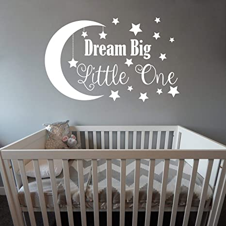 Amazon Com Dream Big Little One Wall Decal Nursery Wall Decal Nursery Decor Nursery Wall Quote Quote Decal Removable Vinyl Wall Stickers For Baby Kids Boy Girl Bedroom Nursery Decor A34 Small White