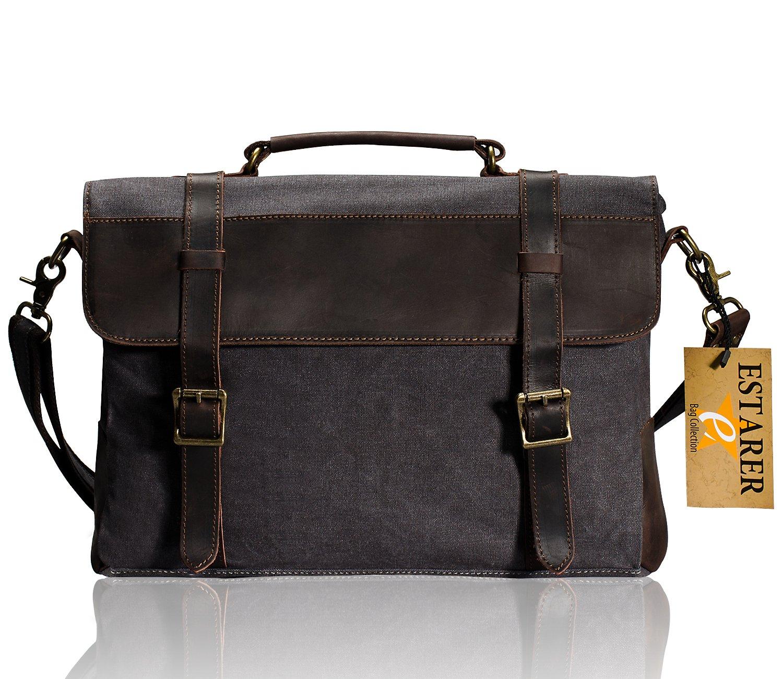 Estarer Canvas Leather Laptop School Messenger Bag Briefcase Dark Grey