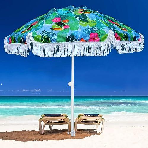 AMMSUN 6.5ft Outdoor Patio Beach Umbrella Sun Shelter