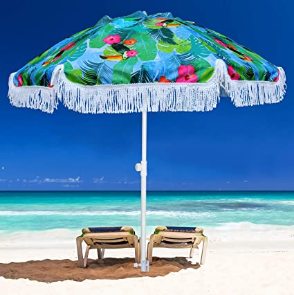 Ammsun 6 5ft Outdoor Patio Beach Umbrella Sun Shelter With Sand Anchor And Fringe Uv50 Sun Protection Lightweight Portable Easy Perfect For Beach Camping Sports Pool Gardens Balcony And Patio