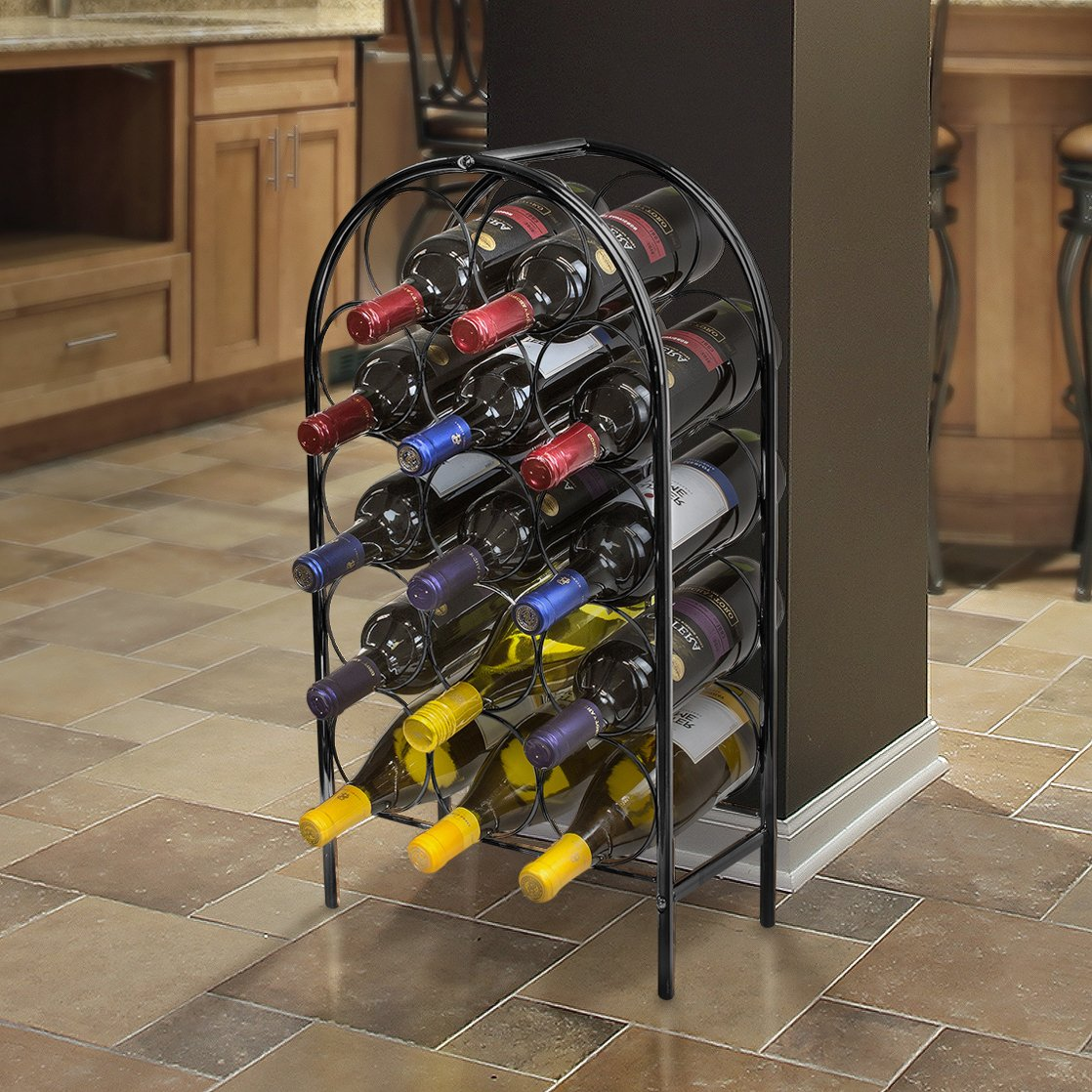 Sorbus Wine Rack Stand Bordeaux Chateau Style - Holds 14 Bottles of Your Favorite Wine - Elegant Storage for Kitchen, Dining Room, Bar, or Wine Cellar (14 Bottle - Black) by Sorbus (Image #5)