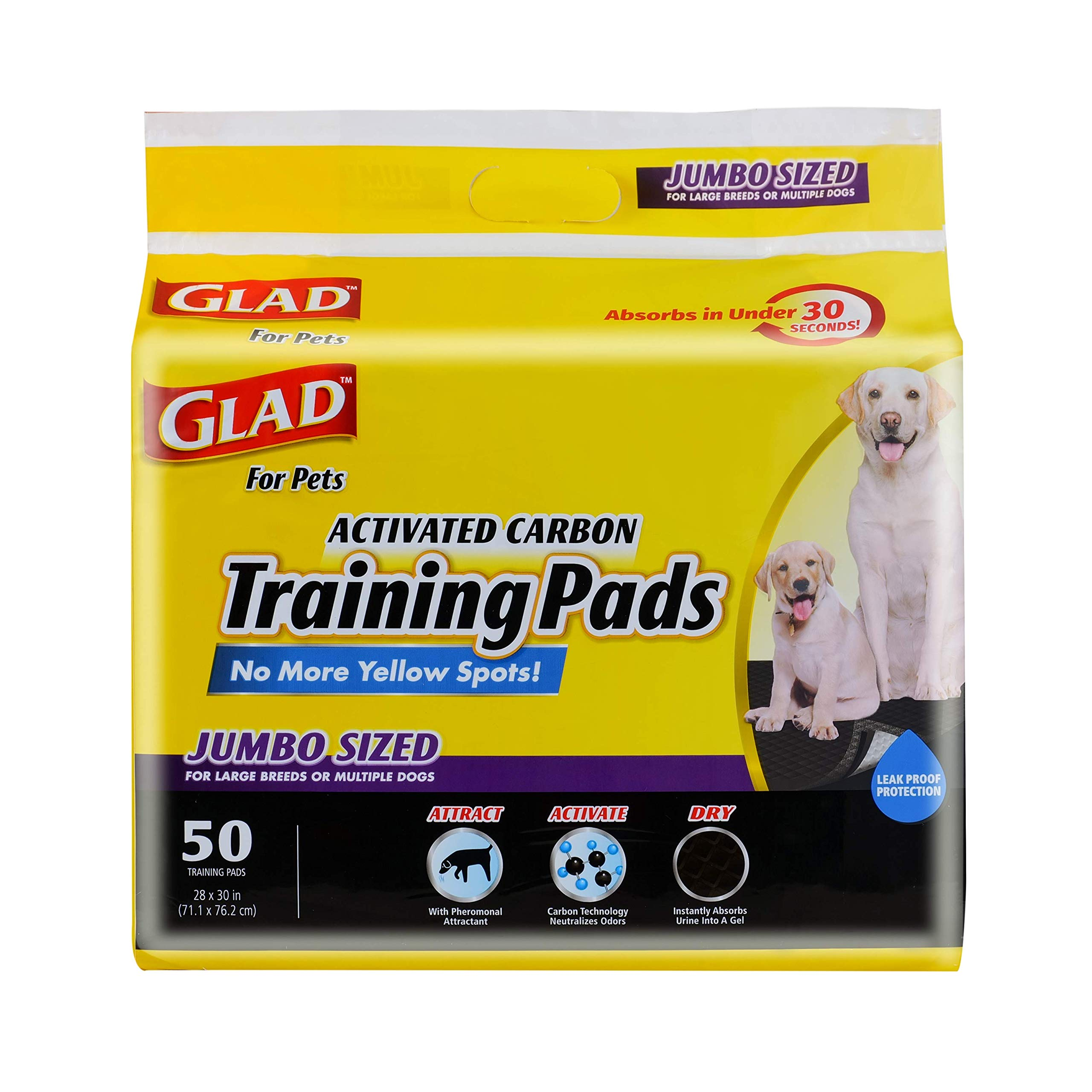 Glad for Pets Jumbo-Size Charcoal Puppy Pads | Black Training Pads That Absorb & Neutralize Urine Instantly | New & Improved Quality Puppy Pee Pads