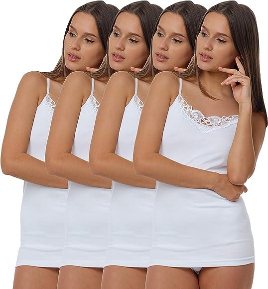 4 Piezas Camiseta Interior con Encaje, 100% Algodòn: Amazon.es ...